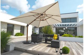 Parasol de jardin déporté imitation bois SEVILLA 4x3m en aluminium et toile polyester DCB GARDEN