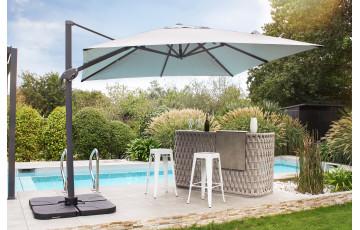 Parasol de jardin déporté inclinable gris SEVILLA 2,5x2,5m en aluminium et toile polyester DCB GARDEN