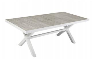 Table salon de jardin plateau céramique pour 6/8 personnes Alta blanche
