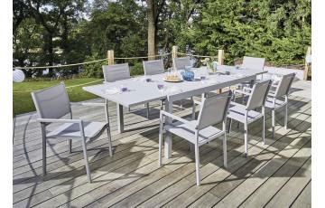 Ensemble table et fauteuils de jardin en aluminium pour 8 personnes Agde gris clair
