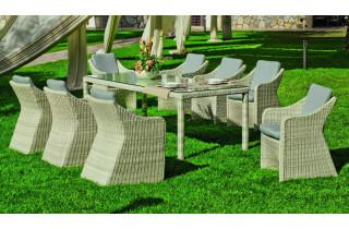 Ensemble table et fauteuils en résine tressée et Dralon 8 personnes - Celebes - beige - Hevea