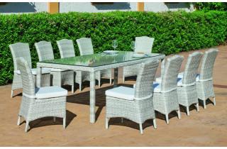 Ensemble table et fauteuils en résine tressée et Dralon 10 personnes - Celebes - beige - Hevea