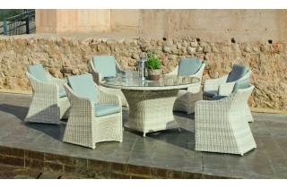 Ensemble table et fauteuils ronde en résine tressée et Dralon 6 personnes - Celebes - beige - Hevea