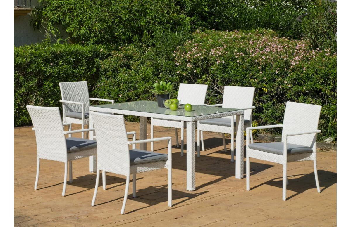 Ensemble table et fauteuils en résine tressée et Dralon 6 personnes - Astorga Emir - blanc - Hevea