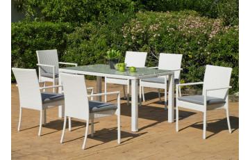 Table de jardin en résine tressée 6 personnes - Astorga - blanche - Hevea