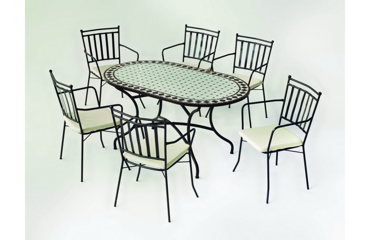 Table de jardin ovale mosaïque en acier 8 personnes - Sambala - blanche - Hevea