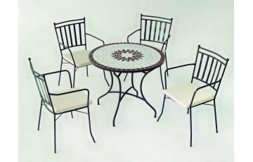 Ensemble table et fauteuils ronde mosaïque en acier et Dralon 4 personnes - Estela Shifa - ecru - Hevea