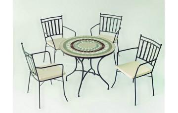 Ensemble table et fauteuils ronde mosaïque en acier et Dralon 4 personnes - Camarines Shifa - ecru - Hevea