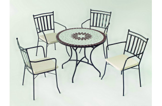 Table de jardin ronde mosaïque en acier 4 personnes - Estela - ecru - Hevea