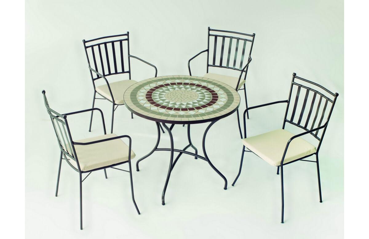 Table de jardin ronde mosaïque en acier 4 personnes - Camarines - ecru - Hevea