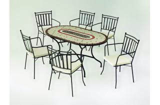 Table de jardin ovale mosaïque en acier 6 personnes - Malaya - ecru - Hevea
