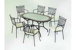Table de jardin ovale mosaïque en acier 6 personnes - Sambala - ecru - Hevea
