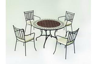 Table de jardin ronde mosaïque en acier 4 personnes - Alondra - ecru - Hevea