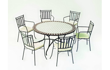 Table de jardin ronde mosaïque en acier 6 personnes - Zaira - ecru - Hevea