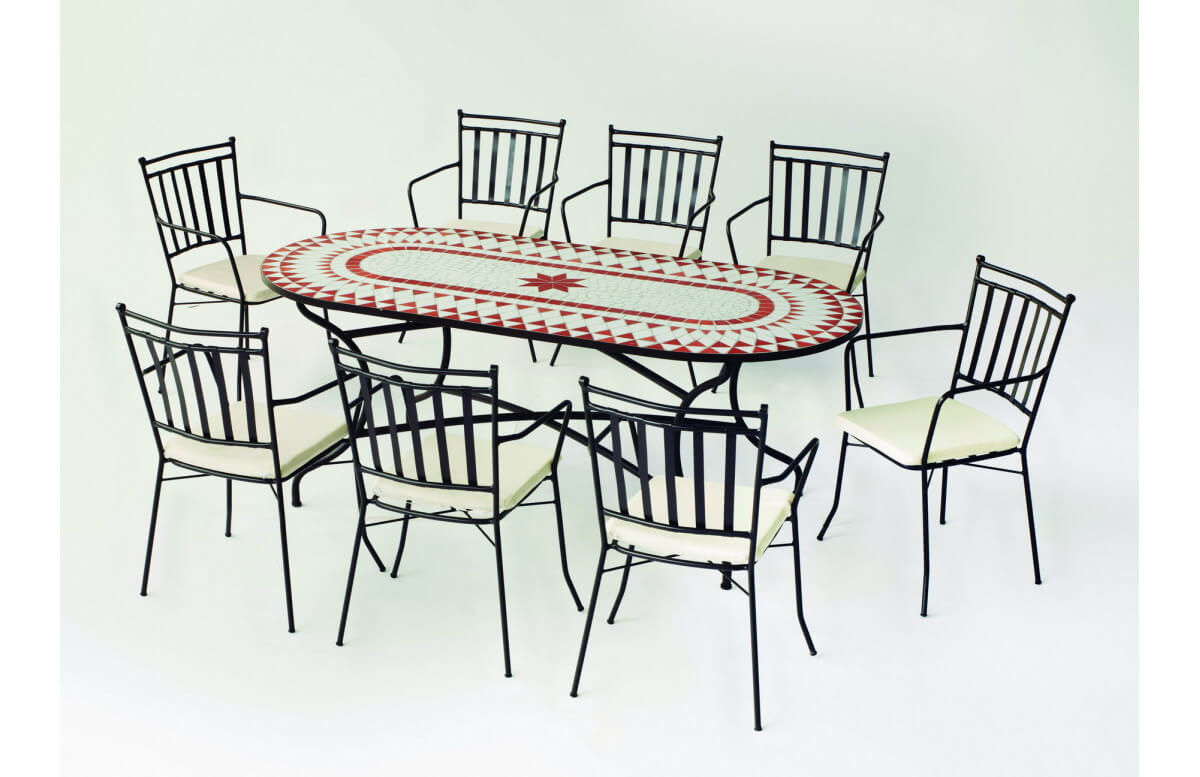 Table de jardin ovale mosaïque en acier 8 personnes - Neypal - ecru - Hevea