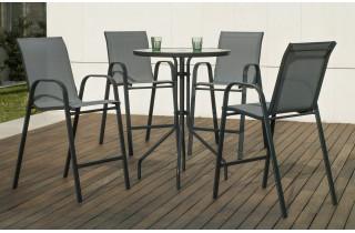 Ensemble haut table et fauteuils ronde en acier et textilène 4 personnes - Sulam - anthracite - Hevea