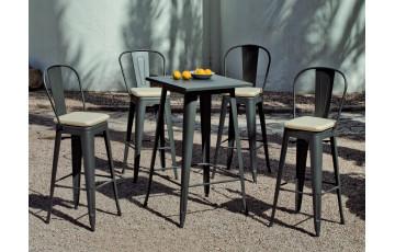 Ensemble haut table et fauteuils en acier et Dralon 4 personnes - Club - anthracite - Hevea