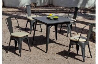 Ensemble table et chaises bistrot en acier et Dralon 4 personnes - Ancona - anthracite - Hevea