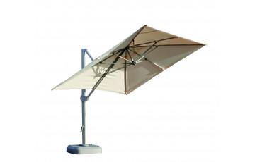 Parasol 3,5x3,5m déporté inclinable en aluminium et polyester - Roma - beige - Hevea