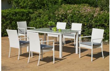 Table de jardin en résine tressée 4 personnes - Astorga - blanche - Hevea