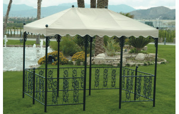 Tonnelle de jardin en acier et polyester - Andujar - blanche - Hevea