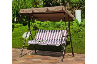 Balancelle de jardin en acier - Orlando - chocolat - Hevea