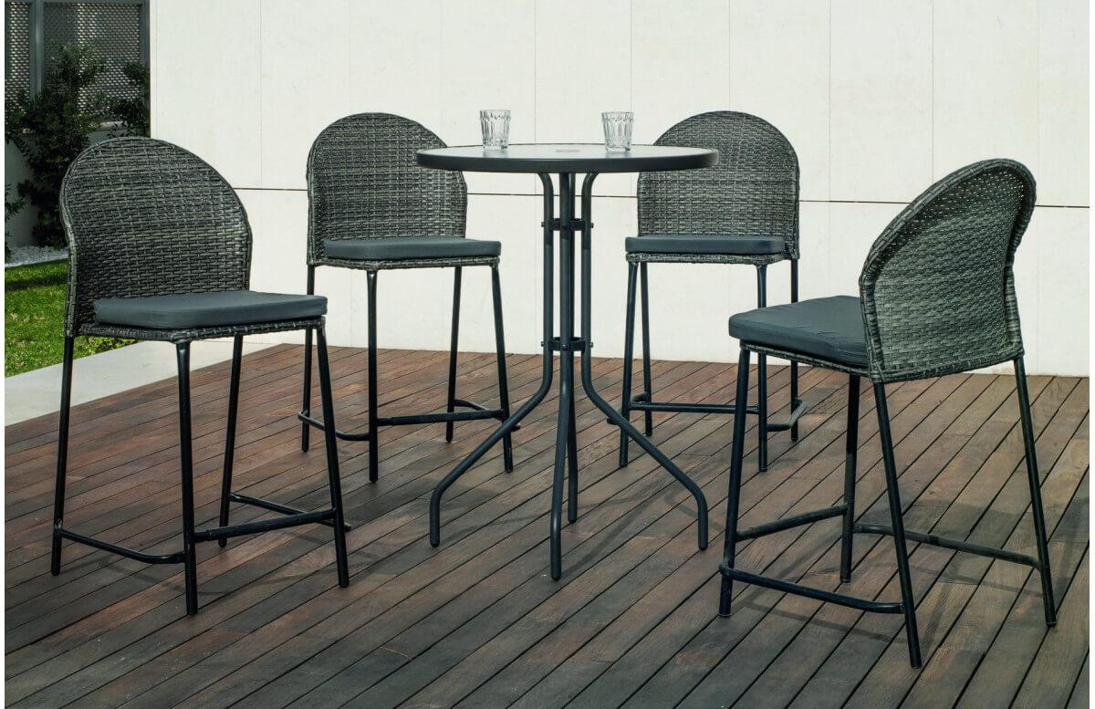 Ensemble haut table et fauteuils ronde en acier et Dralon 4 personnes - Sulam Antea - gris - Hevea