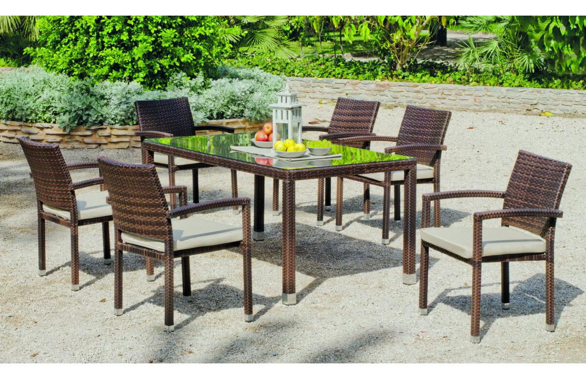 Ensemble table et fauteuils en résine tressée et Dralon 6 personnes - Kepler - marron - Hevea