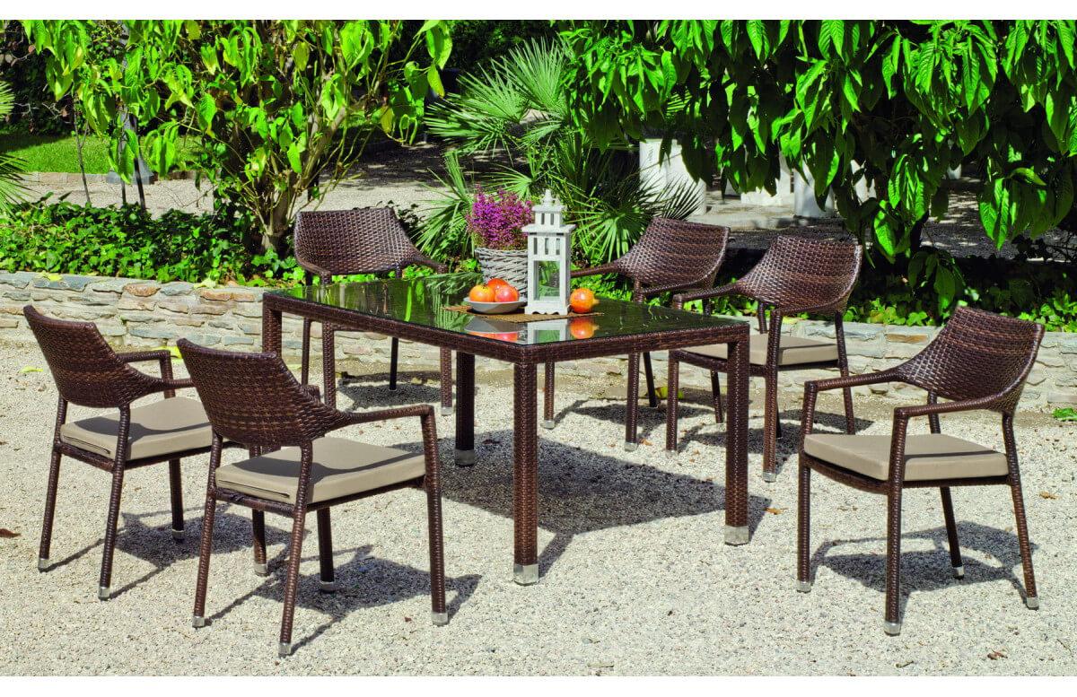 Ensemble table et fauteuils en résine tressée et Dralon 6 personnes - Kepler Pisa - marron - Hevea