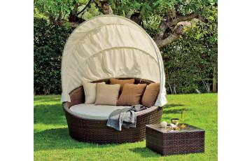 Lit bain de soleil en résine tressée et polyester - Kamasutra - marron - Hevea