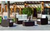 Salon de jardin bas en résine tressée et Dralon 4 personnes - Lisbon - marron - Hevea