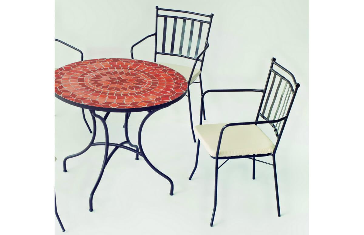 Fauteuil de jardin en acier et Dralon - Shifa - noir - Hevea