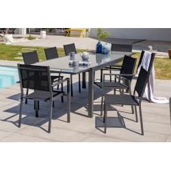 Ensemble table et chaises de jardin en alu/verre pour 8 personnes DCB Garden TOLEDE gris anthracite