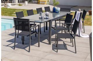Ensemble table et chaises de jardin en alu/verre pour 10 personnes DCB Garden TOLEDE gris anthracite