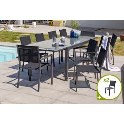 Ensemble table et chaises de jardin en alu/verre pour 12 personnes DCB Garden TOLEDE gris anthracite