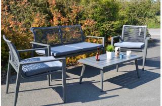 Salon de jardin en aluminium Cassis anthracite 4 personnes - Mon Jardin Cosy