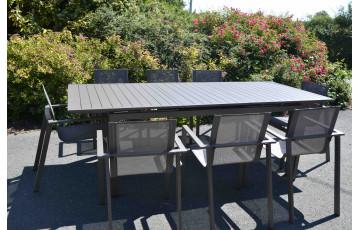 Ensemble table et chaises de jardin en aluminium 8 personnes Sahara