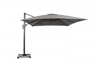 Parasol de jardin carré déporté et inclinable 3x3 gris clair DELORM