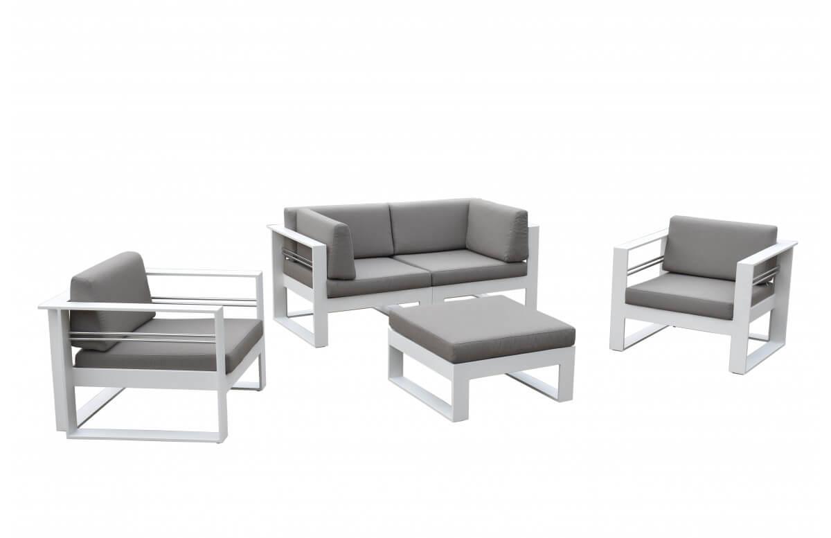 Salon de jardin bas luxe en aluminium 4-5 places - COLLIOURE