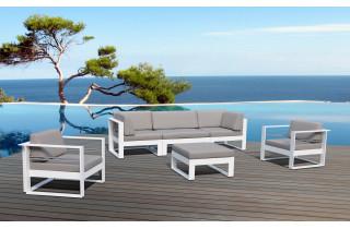 Salon de jardin bas luxe en aluminium 5-6 places - ST TROPEZ - Delorm