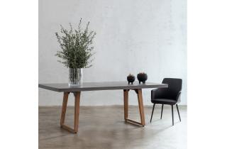 Table salle à manger grise 8 personnes DELORM